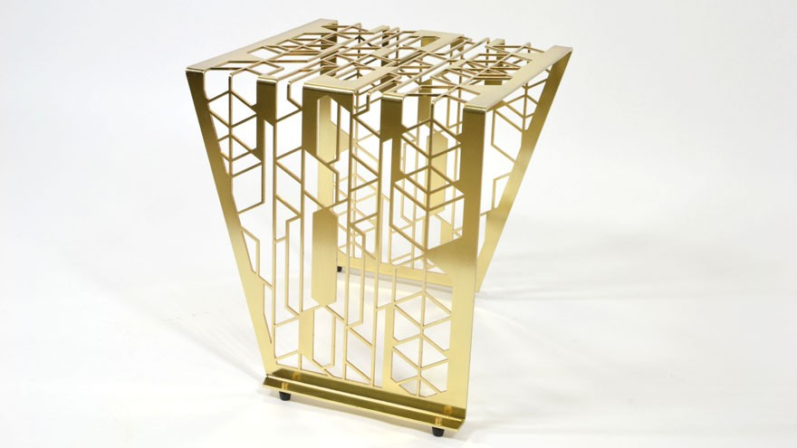 Bend table in brass by Leg Studios.