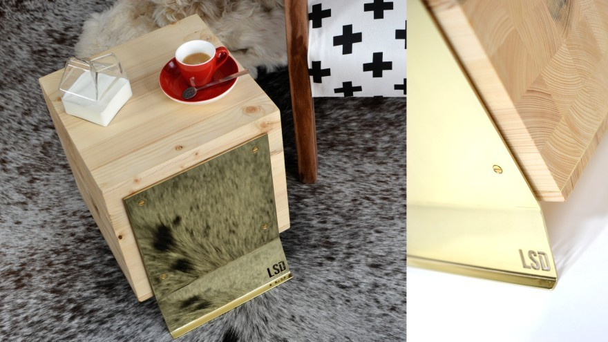 Butcher Block table in wood and brass.