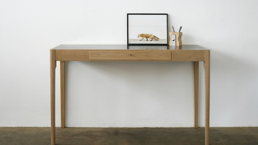 Brass top, tapered leg dressing table by James Mudge.