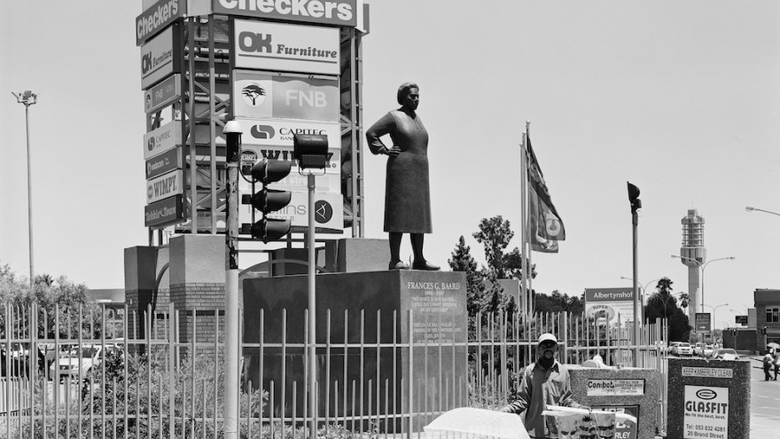 Frances Baard, militant trade unionist and leader of the ANC Women's League, sculpted by Anton Momberg. Kimberley, 5 February 2013. Image: David Goldblatt.
