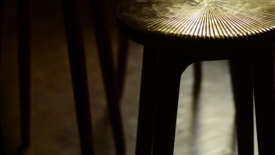 Tekku Brass stools by Ira Studio.