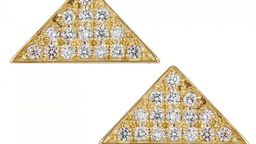 Bang triangle studs by Kirsten Goss.