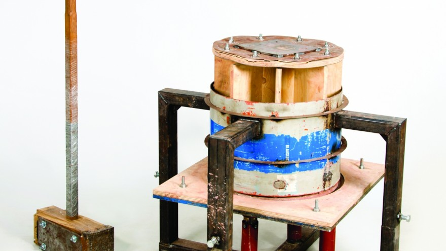 Machine and hammer used to make the Hammered Bowls by Piet Hein Eek and Studio Floris Wubben.