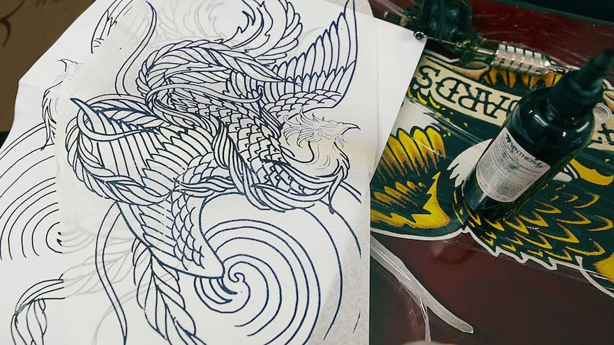 Design of the phoenix tattoo.