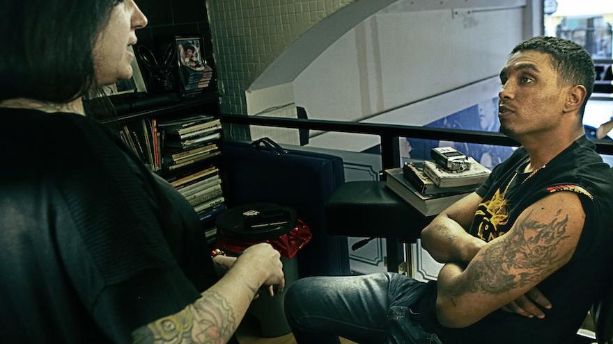 Tattoo artist Manuela Gray and Roger.