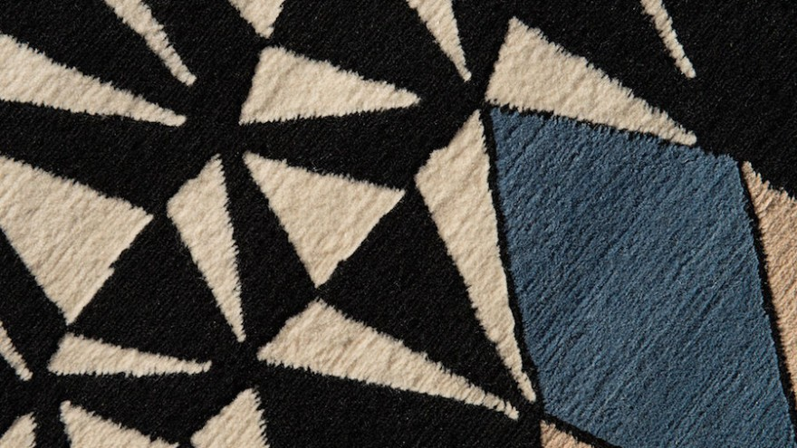 These wool and silk rugs are handmade in Nepal from patterns drawn by French design Florian Pretet.