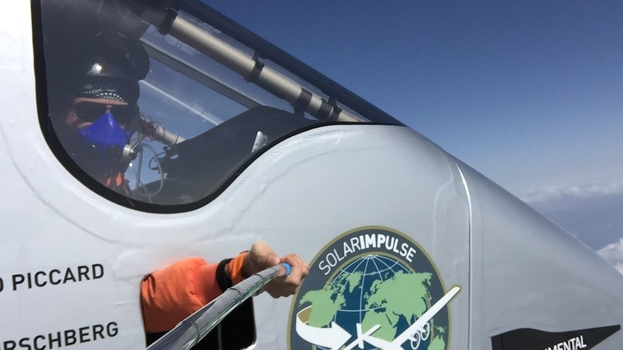 Bertrand Piccard takes a picture from the cockpit of Solar Impulse 2.