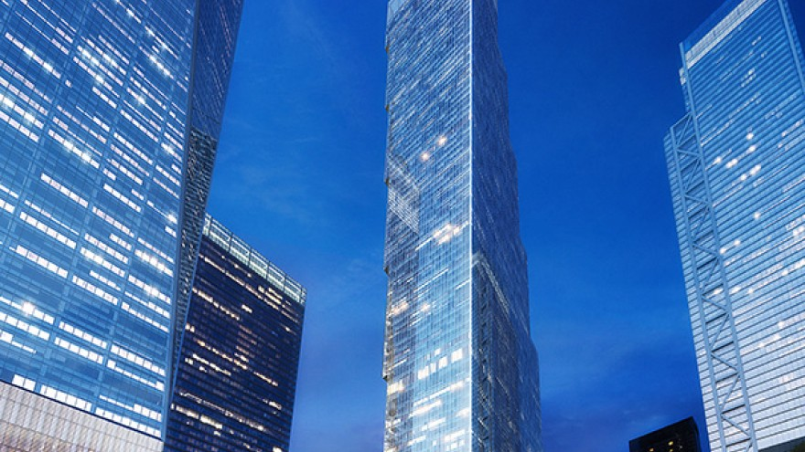 The 2 WTC frames the 9/11 Memorial Park alongside One WTC, 3 WTC and 4 WTC.