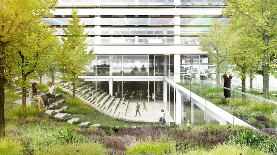 The office spaces feature outdoor terraces full of lush greenery.