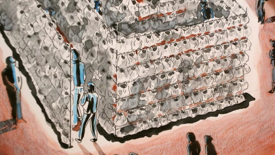 A plastic bag labyrinth, project by Luzinteruptus illustration by Marta Menacho