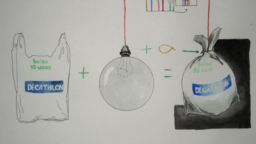 Method for creating brightly lit plastic bag balls, project by Luzinteruptus illustration by Marta Menacho