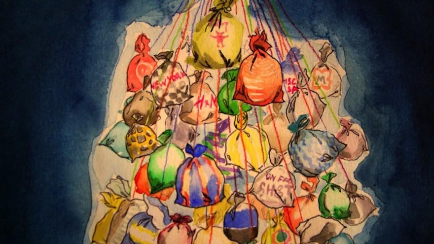 Details of the plastic bag lights, project by Luzinteruptus illustration by Marta Menacho