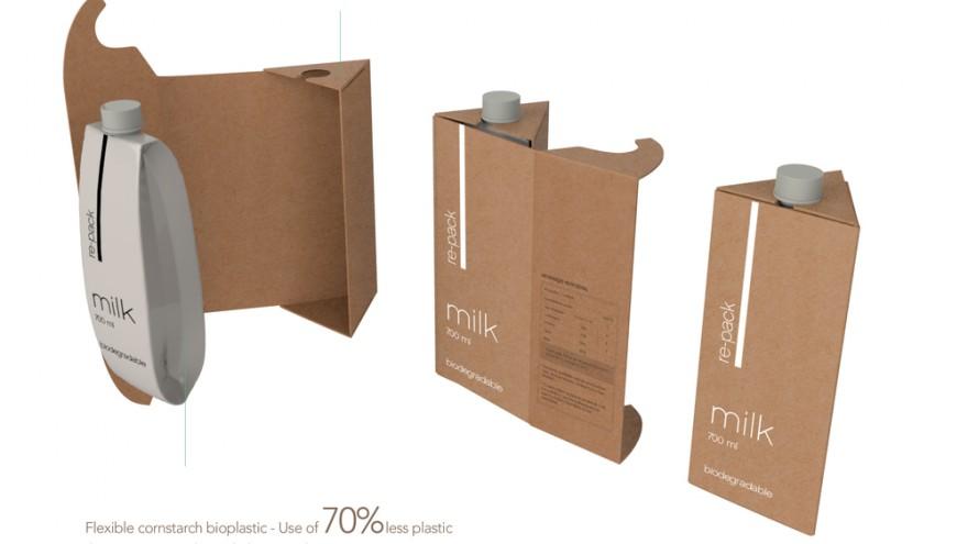 The cornstarch bioplastic package fits inside the cardboard holder