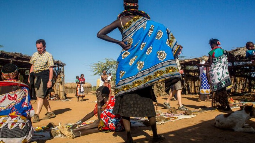 The Umoja women lay out their homemade jewellery to sell to visitors. Jewellery allows them to earn a living, something Samburu women are traditionally not allowed to do.