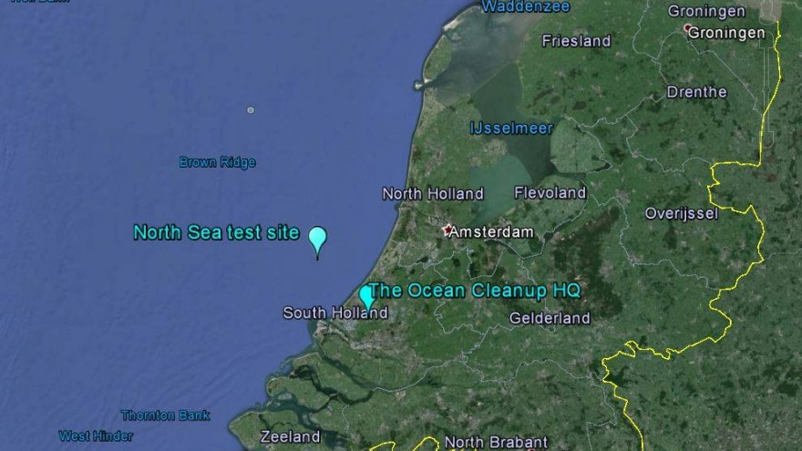Map of the North Sea testing site. Image: Ocean Cleanup