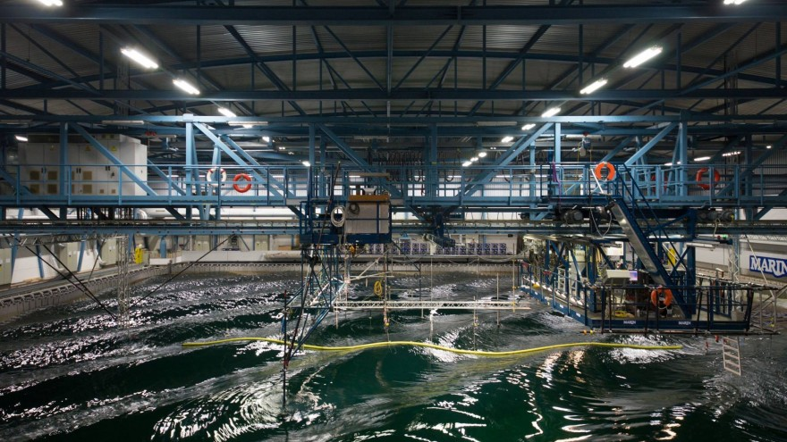 The Ocean Cleanup currently conducts 3d scale model tests of the cleanup system at the Maritime Research Institute Netherlands. Image: Ocean Cleanup