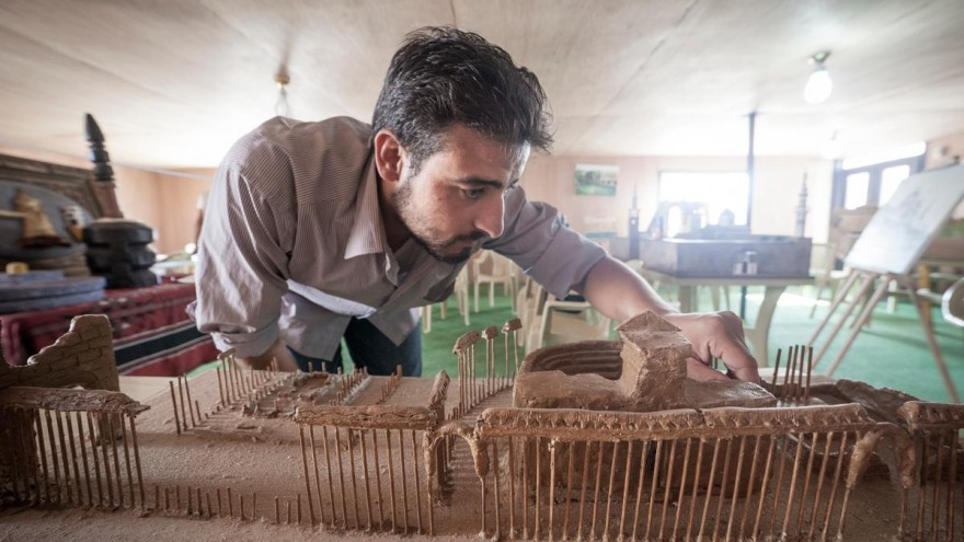 The ancient city of Palmyra was built using clay and wooden kebab skewers. Photo Credit: UNHCR/Christopher Herwig