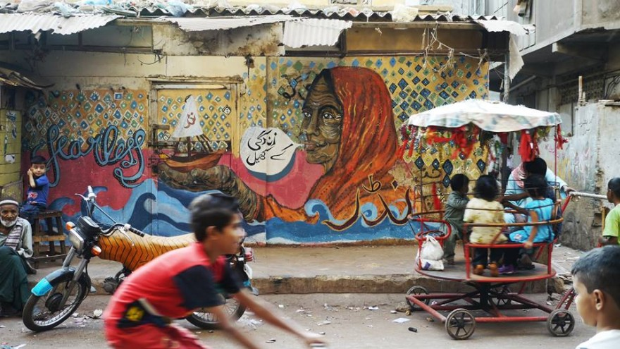 This mural is a symbol of Lyari's shipping trade.