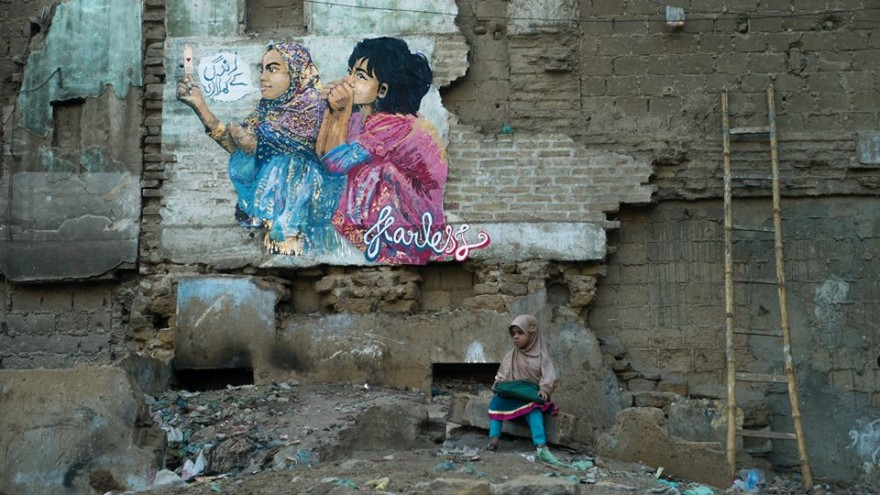The Fearless Collective's mural in gang-ridden Lyari explores the idea that we are both constantly 'playing with our lives' and playing the game of life simultaneously.