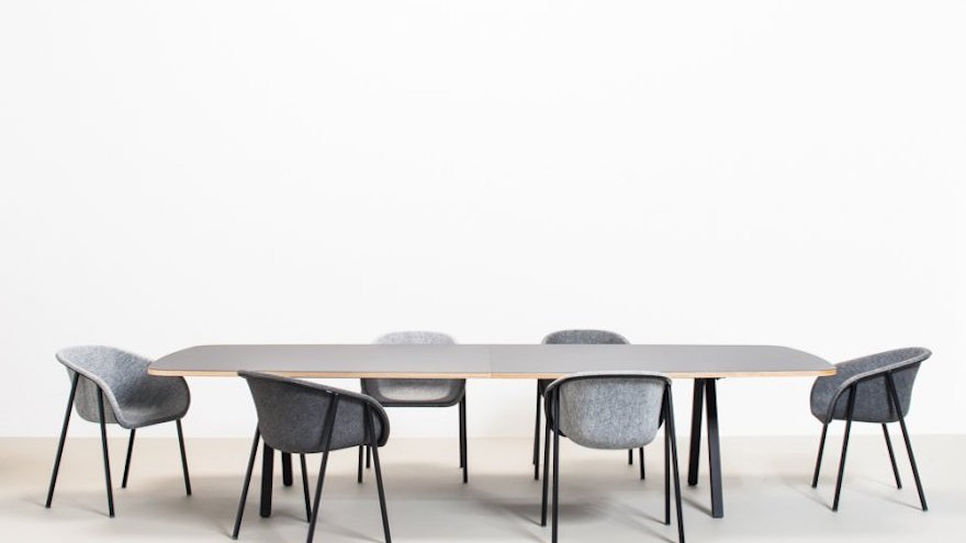 The LJ series by Dutch studio De Vorm is a range of chairs and stools that feature a strong, soft felt material that is made of recycled PET bottles