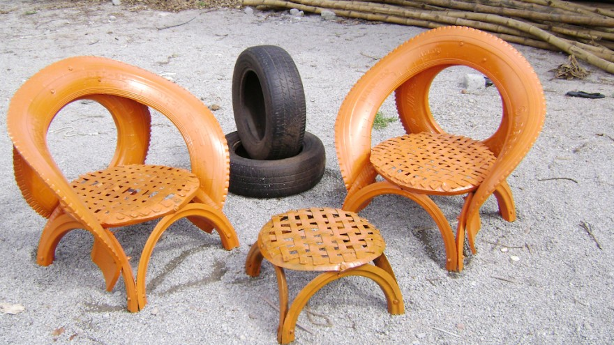 Outdoor furniture using tyres by Recycle India