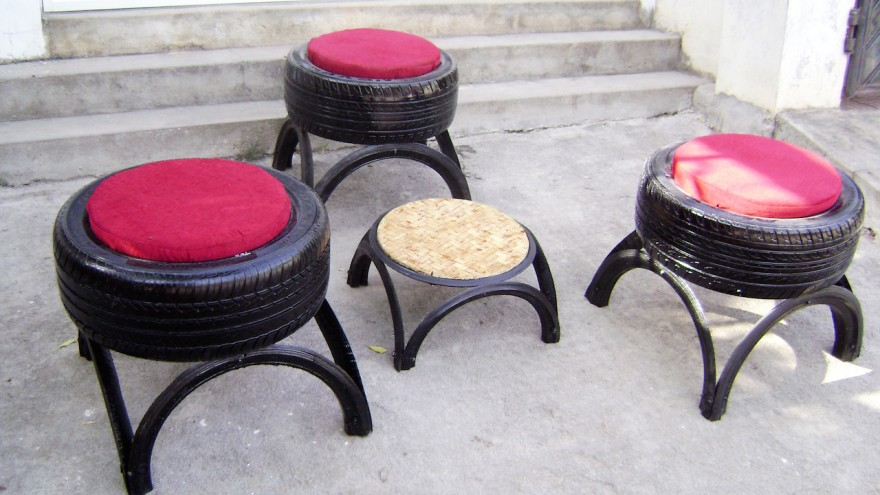 Outdoor furniture using tyres and cushions by Recycle India