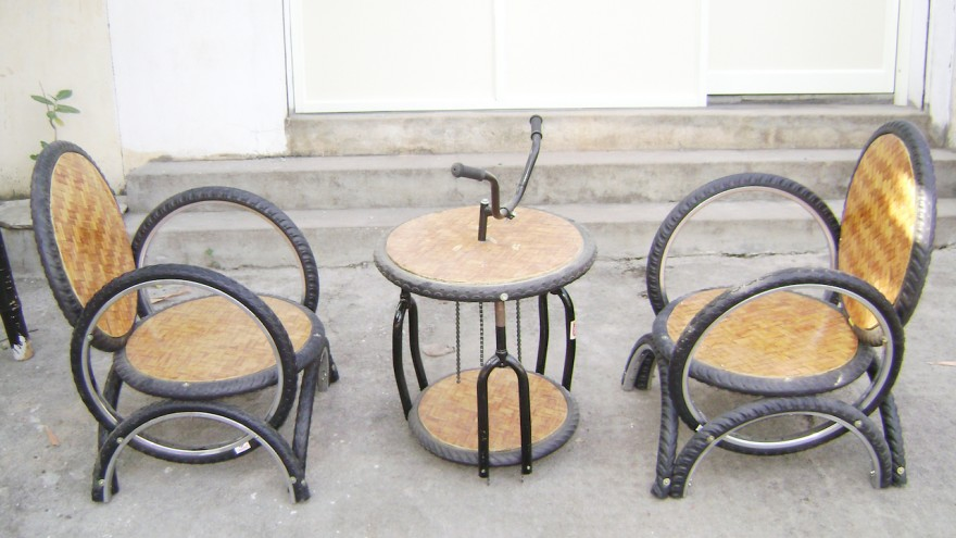 Outdoor Furniture Using Bicycle Tyres And Parts, By Recycle India