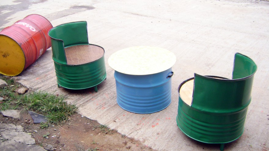 Upcycled oil drum furniture by Recycle India