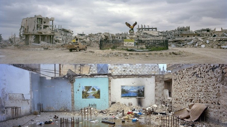 Images of destroyed towns from the WarOnWall exhibition