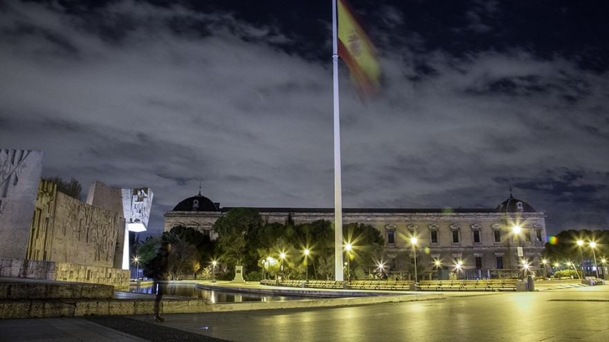 The Spanish flag at Colombus Square