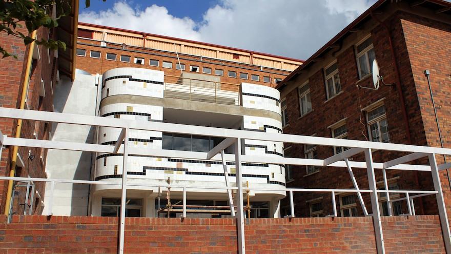 Lorenzo Nassimbeni's geometric tiled mural on the new Rahima Moosa Mother and Child Hospital