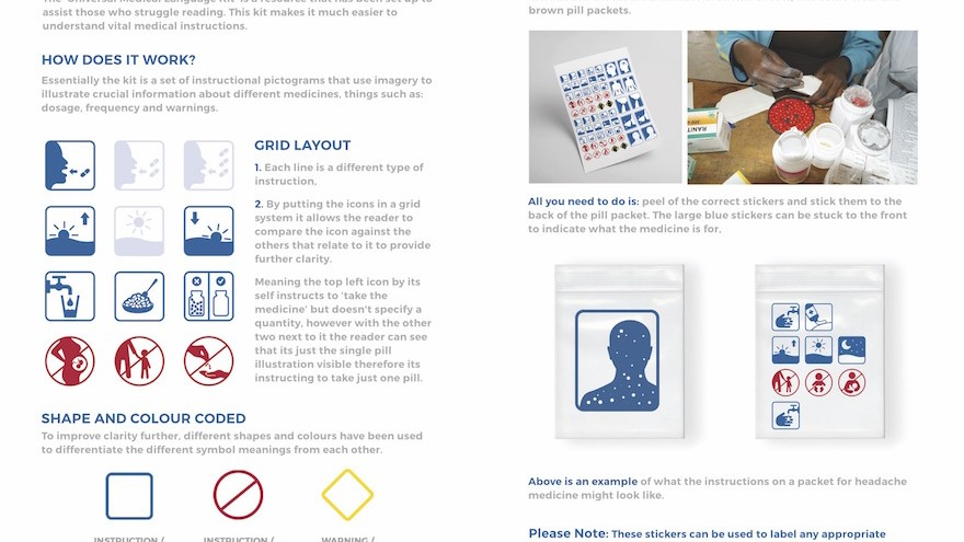 Graphic design student Jonathan Stannard has won an RSA Design Award for his medical symbol kit to help people in low literacy areas understand their medicines