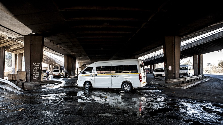 """Taxi rank. """"Wake up, This is Joburg"""" is a series of 10 books that tells the stories of the peculiar urban inhabitants of Johannesburg. Image: Mark Lewis"""