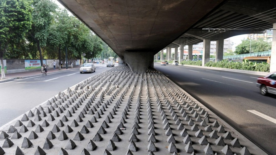 A grid of spikes under a bridge in Guangdong, China