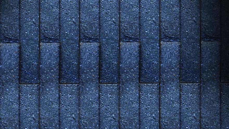 A wall of 'BlueBerry' bricks