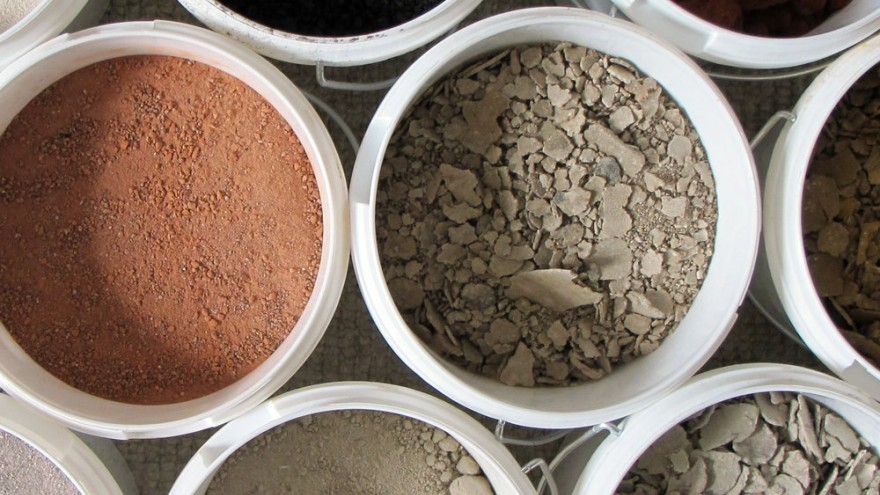 A selection of WasteBasedBrick ingredients