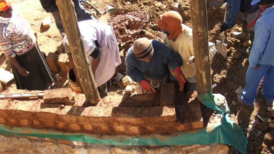 Laying th foundation. Photo: Steve Kinsler.