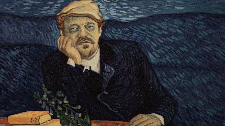 A frame from Loving Vincent, in Van Gogh's signature style