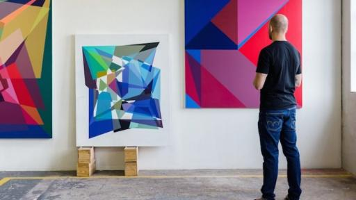 Andrzej Urbanski in studio preparing his upcoming exhibition, Mindgame, at Salon91 (opening 18 March, 2015)