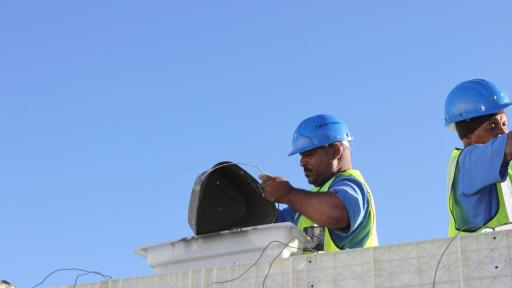 Aerated mortar being poured into the Moladi formwork.
