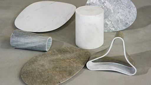 Solid Patterns is a collection of marble tables by Dutch husband-and-wife team Scholten & Baijings.