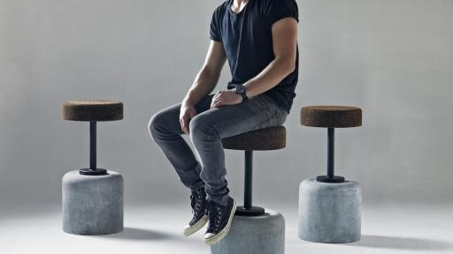Cork bar stool by WIID Design. Image: Justin Patrick.