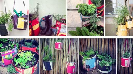 A variety of GROWbags. These environmentally friendly planters help low-income communities grow their own food.