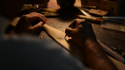 A retired musician in West Bengal, India created this artisanal, folding wooden tie