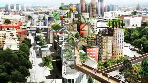 Artist impression of sky city in Stockholm