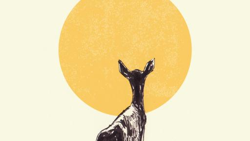 Ishaarah Arnold illustration of a deer walking in the sun.