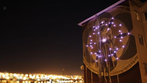 Harvest by Faith47 lit up by Thingking. Photo by Rowan Pybus @Makhulu_