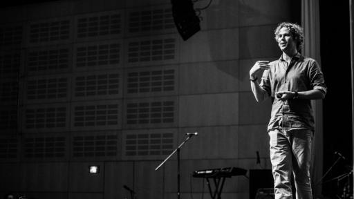 Tom Hulme on stage at Design Indaba Conference 2014. Image: Jonx Pillemer.