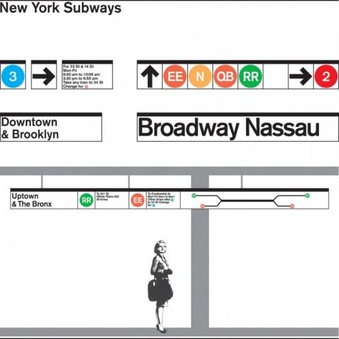 New York Subway signage 1960s. Courtesy of Massimo Vignelli.