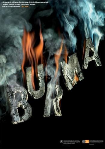 Burma poster for Witness.Courtesy of Harry Pearce / Pentagram.